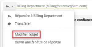 Changer l'objet dans Gmail